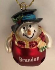 "Red 2"" Personalized Brandon Snowman Ornament Figurine Bell"