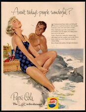1956 PEPSI Cola - Couple - Beach - Retro Swimsuit - Basket - Picnic VINTAGE AD