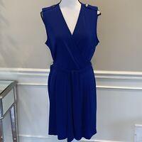 Banana Republic Blue Sleeveless Faux Wrap Dress  Size Large