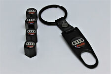 Audi Air Valve Dust Caps Covers with Key Ring+4 pcs caps+1ST CLASS POST