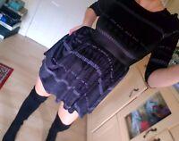 Topshop Bkack Velvet Skater Dress Uk 10 / 38