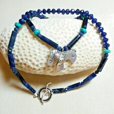 SODALITE, TURQUOISE, HILL TRIBE HORSE PENDANT STERLING SILVER TOGGLE NECKLACE!