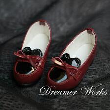 1/4 1/3 BJD Shoes Rabbit Ears Flat Sole Shoes Bow Deco Dark Red & Black AOD DOD