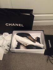 Chanel zapatos CUERO NEGRO ZAPATOS UK 4.5 37.5 Auténtico