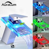 LED Wasserhahn Waschtischarmatur Glas Wasserfall Armatur Mischbatterie Bad Chrom