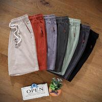 Summer Casual Shorts Men's Linen Cotton Drawstring Comfortable Pants Plus Size