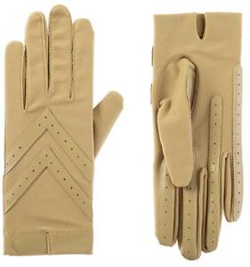 isotoner Womens Spandex Shortie Touchscreen Gloves SmartDRI Technology Camel S/M