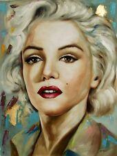 Di CAPRI ORIGINALE dipinto ad olio su tela Marilyn Monroe Ritratto | Black Edition 05