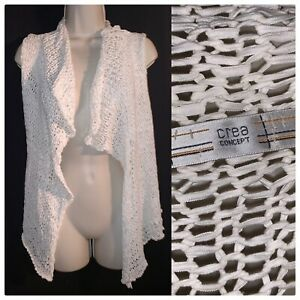 CREA CONCEPT Bohemian Jacket Ragged Open Knit Fab Cardigan Off White Gilet OS 14