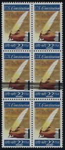 2360 - Inking Error / EFO Black Ink Smear block6 Signing Of The Constitution MNH