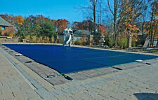 16x32 Rectangle Swimming Pool Winter Safety Cover Blue Mesh 12 Yr w/4'x8' Step