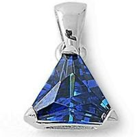 2 ct. Sapphire Trillion Solitaire Pendant Necklace in Solid Sterling Silver