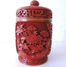 ARVED RED CHINESE ANTIQUE VVINTAGE CINNABAR LACQUER CYLINDRICAL TRINKET BOX