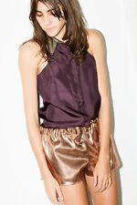 $190 Cute! SAMUJI Venus Track Shorts Metallic Copper Gold 0 25 XS French 34 MNZ