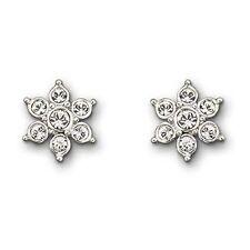 Swarovski Rhodium-Plated Pansy Pierced EarringsClear Crystals in Bezel Setting