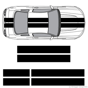 "Ford Mustang 10"" Solid Racing Stripes 3M Vinyl Decal Kit 10in 10 inch"