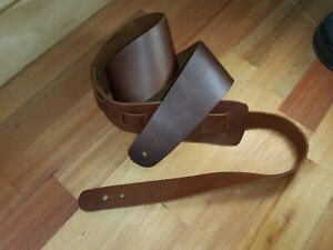 Guitar Strap Full Leather, Australian Made Dark Tan Pull up Leather.
