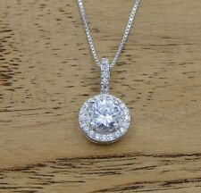 "Sterling Silver Cubic Zirconia Pendant Necklace 18"" Chain Gift Christmas Kid I25"