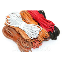 3mm Flat Cow Real Leather Finding Cord String Lace Rope Ornaments Multiple color