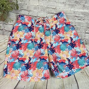 Nautica Mens Swim Trunks Board Shorts Ocean Life coral crab fish Sz large