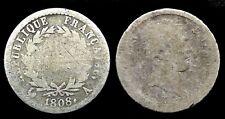 Demi Franc 1808A Tête laurée Napoléon 1er Argent/Silver