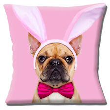 """FAWN FRENCH BULLDOG EASTER BUNNY EARS BOW TIE ON PINK 16"""" Pillow Cushion Cover"""