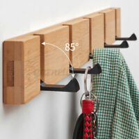 Bamboo 4 Hooks Wooded Wall Mount Hanger Towel Rack for Coat Robe Hat Clothes