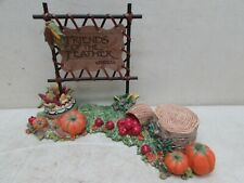 Enesco Friends of the Feather Autumn Fall Bounty Pumpkin Corn Leather Sign