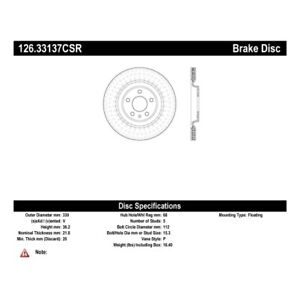 StopTech 126.33137CSR Sport Slotted Cryo Brake Rotor For 18-20 Audi Q5 NEW