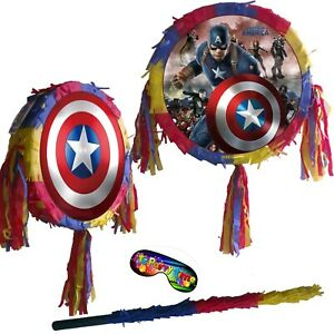 Captain America shield Pinata Kids Smash Party Fun Avengers Red UK Super Hero