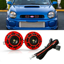 For SUBARU Impreza WRX STi BRZ 12V Red Grille Mount Super Tone Hella Horn Kit