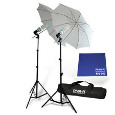 "Phot-R 2x 2000W Bulbs 33"" Studio Umbrella Continuous Light Stand Chamois Cloth"