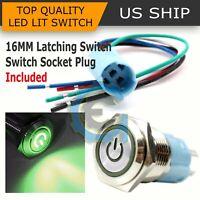16mm 12V Car Green LED Metal Push Button Toggle Switch Socket Plug For Car