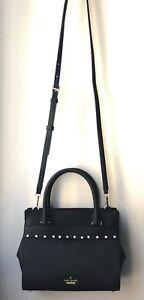 NWT Kate Spade Black Leather Jeweled Mini Candace Satchel Crossbody Bag $328