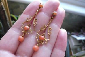 Edwardian Style Coral and Gold Gilt Metal Drop Earrings