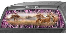 Whitetail Buck Tallgrass Pink Camo Rear Window Graphics Decals Truck Wrap