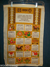 Vintage Calendar 1984 Linen Dutch Amish Rooster B&D Quilt Craft Free USA Ship