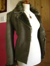 Ladies green faux sheepskin fur M&S PER UNA JACKET UK 10 8 US 6 4 teddy coat