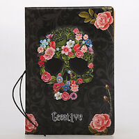 Cool Skeleton Skull Flowers PU Leather Cute Floral Passport Cover Wristlet Strap