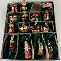 Christborn German Christmas Hand-Blown Hand-Painted Decorated Glass 15 Ornaments
