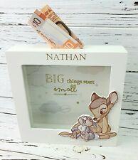 Personalised Baby Disney Bambi Money Bank Saving Box Elephant Engraved Gift Name