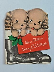 Die Cut 1940's Puppies in Santa Boot Merry Christmas Norcross Greeting Card 7293