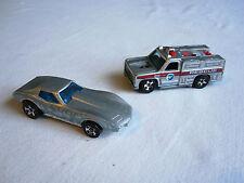 Pair of vintage Mattel Hot Wheels 1975 Corvette Stingray 1974 Fire Truck Silver