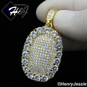 MEN 925 STERLING SILVER ICY DIAMOND BLING GOLD OVAL SHAPE CHARM PENDANT*GP207
