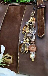 Custom handmade bag CHARM purse Keychain GIFT crystal sparkle bead MK, COACH, DB