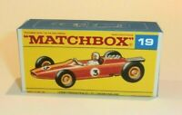 Matchbox Lesney No 19  Lotus Racing Car empty Repro F style Box