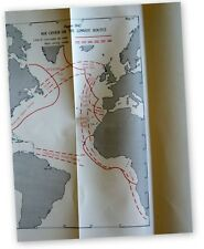 ORIGINAL ROYAL NAVY WAR MAP BATTLE OF ATLANTIC AIR COVER ON CONVOY ROUTES 1942