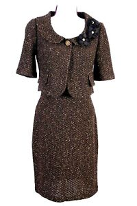 ST.JOHN Couture Womens Knit Suit Brown Gold Metallic Shimmer Jacket & Dress Sz 4