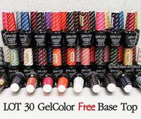 OPI GelColor Kit SET OF 30 + FREE BASE &TOP Soak Off Gel Nail Colour UV Led Lot