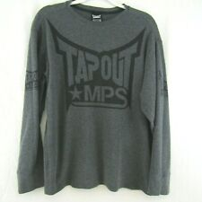 Tap Out Power Muscle Tank NWT Chrome Gray Logo Graphic Front Polyester
